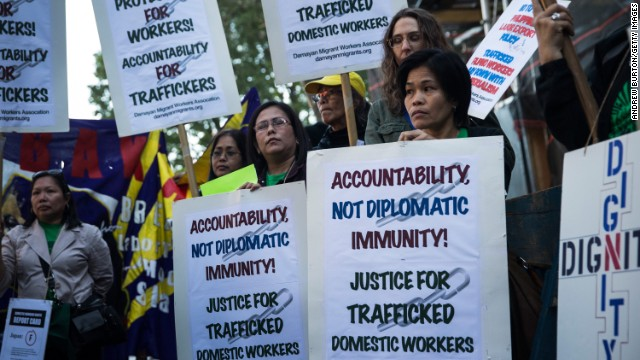People protest labor trafficking and modern-day slavery outside the United Nations on September 23 in New York.