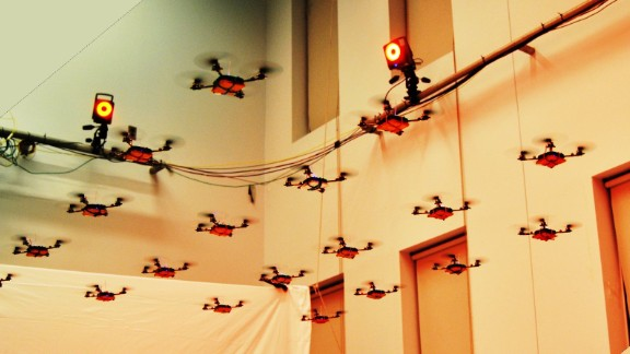 KMel Robotics have already made a name for themselves, going viral by showing off their  quadrotor swarm's ability to do everything from strumming out the James Bond themetune, to mastering synchronized flying displays. UPenn graduates Alex Kushleyev and Daniel Mellinger created the company in 2011 to develop quadrotor swarms to suit any purpose.
