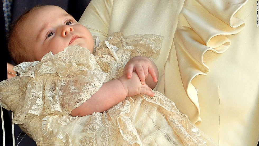 Prince George is seen after his christening at the Chapel Royal in St. James' Palace in London on October 23. The prince was christened Wednesday with water from the River Jordan at a rare four-generation gathering of the royal family in London.