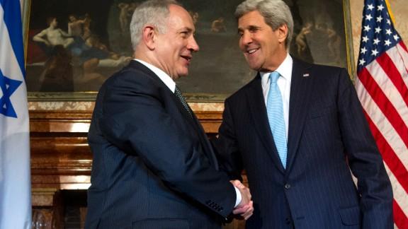 US Secretary of State John Kerry meets with Israeli Prime Minister Benjamin Netanyahu in Rome, on October 23.
