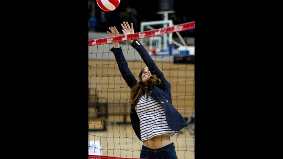 Britain's Catherine, Duchess of Cambridge, plays volleyball during a trip to the SportsAid Athlete Workshop on October 18. Onlookers noticed her flat tummy, just a few months out from giving birth to Prince George. Click through for more Pregnancy Hunger Games potential competitors.