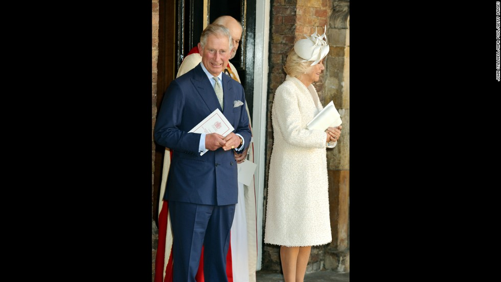 Prince Charles and Camilla, Duchess of Cornwall, leave the chapel.