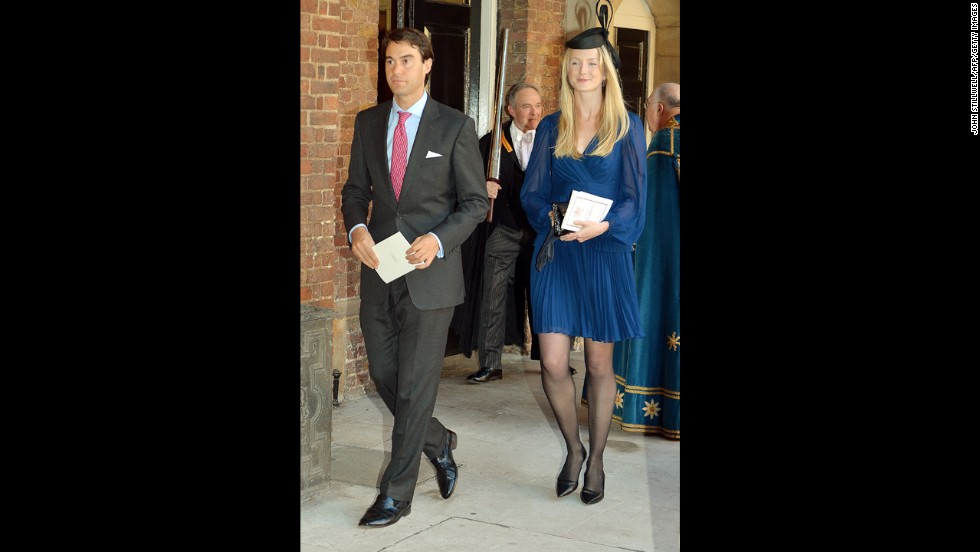 William van Cutsem, a childhood friend of Prince William, leaves the chapel with his wife, Rosie.