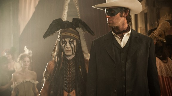 """""""The Lone Ranger"""" is nominated for worst picture and worst actor (Johnny Depp, left, with Armie Hammer), among others."""