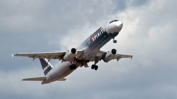 A Spirit Airlines jet takes off from Fort Lauderdale-Hollywood International Airport on February 21, 2013.