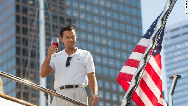 "Leonardo DiCaprio plays Jordan Belfort in the film ""Wolf of Wall Street."""