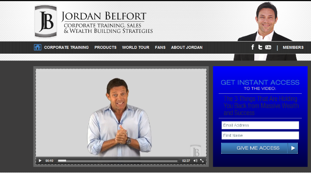 The web page for Jordan Belfort's sales training business.