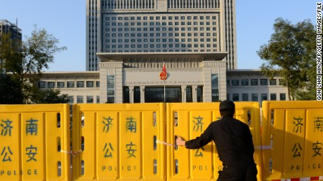 Barricades get erected outside a court in Jinan in  2013 in preparation for a ruling on an appeal by ex-political star Bo Xilai.
