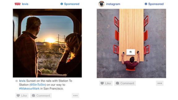 """An early peek at Instagram's new ads show they are formatted just like normal posts but with a """"sponsored"""" label and additional options to hide an ad."""