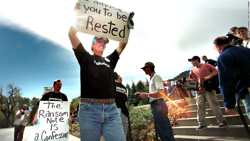 Kenneth Scott, of Denver, protests the outcome of the grand jury investigation in front of the Boulder County Justice Center on October 14, 1999. District Attorney Alex Hunter stated that no indictments would be issued because of a lack of evidence.