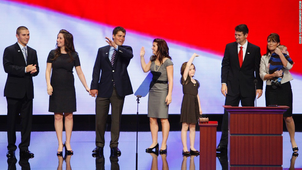 Palin's family appears on stage after her speech to the Republican National Convention in September 2008. From left to right are her son Track; daughter Bristol; Bristol's then-fiancee, Levi Johnston; daughter Willow; daughter Piper; husband Todd; and son Trig.