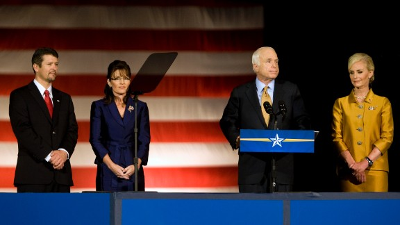 Palin and her husband, Todd, join Republican presidential candidate Sen. John McCain and his wife, Cindy, as McCain concedes the presidential race to Obama in November 2008.