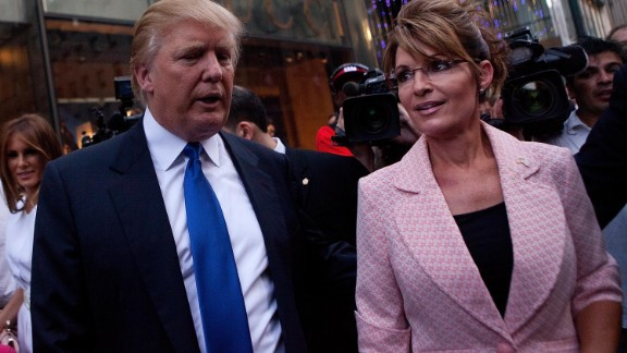 Palin and Donald Trump walk toward a limo after leaving a dinner meeting in May 2011. It came during the Palin bus tour that fueled speculation she would run for president the next year. She didn