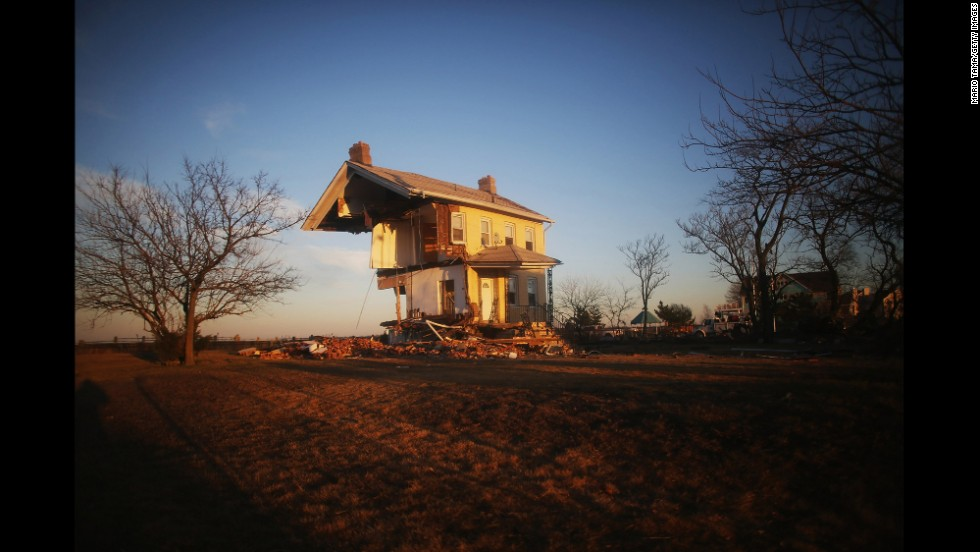 The Princess Cottage, built in 1855, is barely standing on November 21, 2012, in Union Beach, New Jersey.