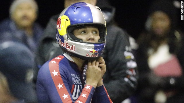 Lolo Jones in the U.S. women's bobsled team trials Friday, October 25 in Park City, Utah.