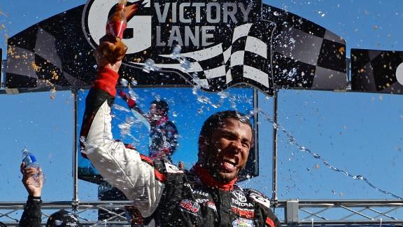 Darrell Wallace Jr. celebrates winning the NASCAR Camping World Truck Series Kroger 200 on Saturday, October 26.