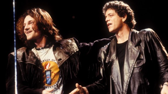 Bono of U2, left, and Reed appear at the Amnesty International Concert in Denver, Colorado, on June 8, 1986.