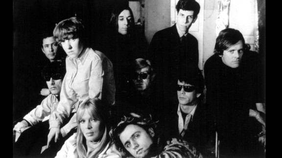 Andy Warhol, center, with the Velvet Underground, Nico, Paul Morrisey and Gerard Melanga in 1966.