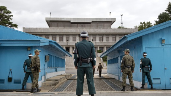 Soldiers at the United Nations truce village of Panmunjom where the South Korean defectors were returned.