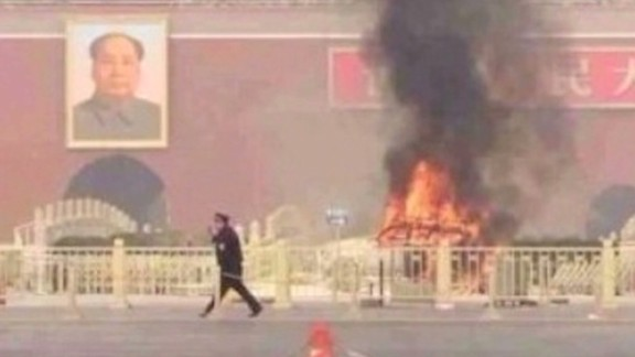 Five people died when a vehicle drove through security barriers into a crowd in Tiananmen Square in October 2013.