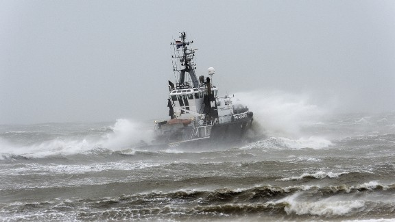 A boat in Scheveningen, Netherlands, is caught in the strong winds Monday.