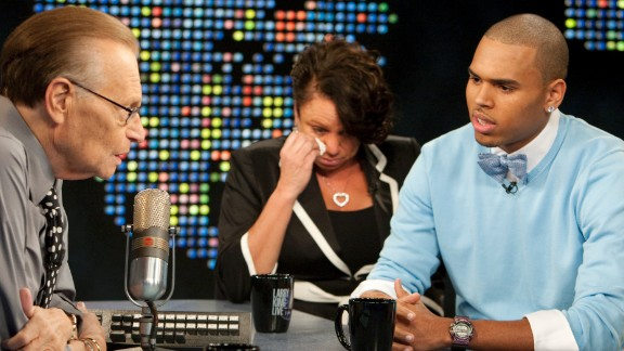 "September 2009: Brown and his mother appeared on CNN's ""Larry King Live"" in his first TV interview since his arrest. ""I've said countless times how sorry I am to Rihanna, and I just accepted full responsibility,"" Brown said. ""But it's just one of those things I wish I could have relived and just handled totally different."""