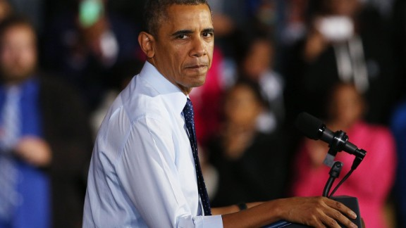 U.S. President Barack Obama pauses while speaking at the Pathways in Technology Early College High School in the Crown Heights section of Brooklyn on October 25, 2013 in New York City.
