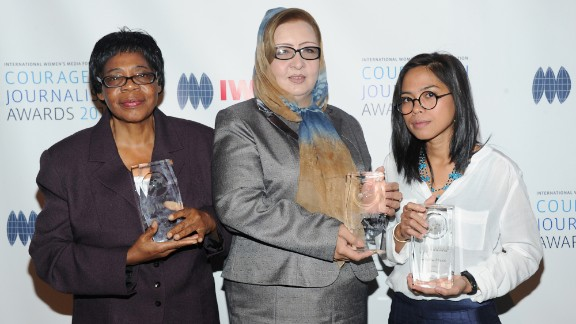 """Edna Machirori (L), Najiba Ayubi and Bopha Phorn were honored at the """"Courage in Journalism Awards"""" for 2013."""