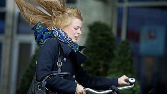 Strong winds from the storm hit Scheveningen, Netherlands, on Monday.