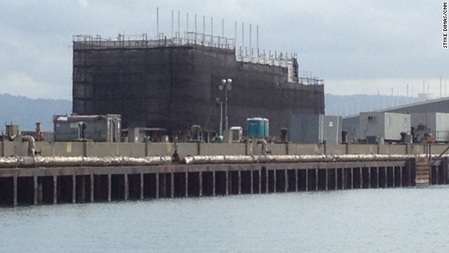 Officials won't say exactly what's going on board this barge, but Bay Area media say it is a Google project.