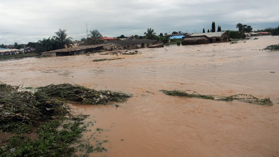 Floodwaters course through Odo Ona in Nigeria