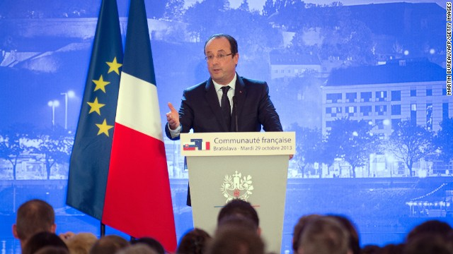 French President Francois Hollande announces the release of four French hostages during his visit to Slovakia.