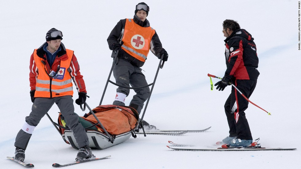 The Austrian skier had to be stretchered down the mountain by the medical back-up teams on the slopes to have emergency treatment at the nearby hospital.