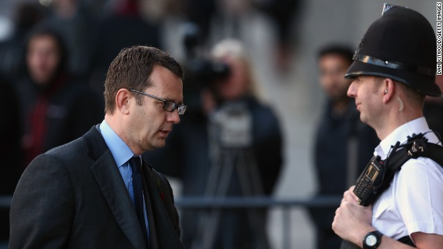 Former News of the World editor Andy Coulson arrives at the Old Bailey on Wednesday in London.