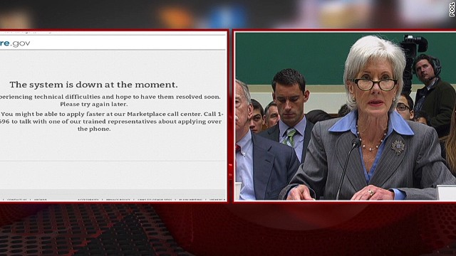 Obamacare site down for Sebelius hearing