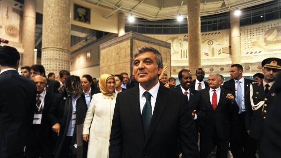 Gul enters the Marmaray station during the inauguration ceremony.