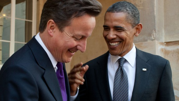 President Barack Obama talks with British Prime Minister David Cameron following their joint press conference at Lancaster House in London, England, May 25, 2011.