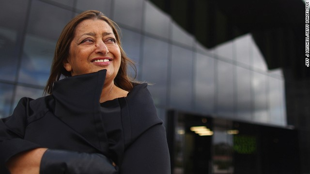 Architect Zaha Hadid, outside Glasgow's Riverside Museum, her first major public commission in the UK, in 2011.