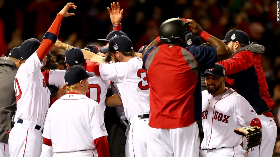 The Boston Red Sox celebrate their win.