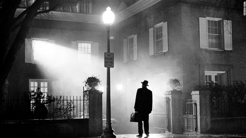 "The silhouetted image of actor Max von Sydow, playing Father Merrin, was featured on the poster for the 1973 theatrical release of ""The Exorcist."" It remains one of the highest-grossing films of all time. Based on a 1971 novel by William Peter Blatty, it was nominated for 10 Academy Awards, including Best Picture."