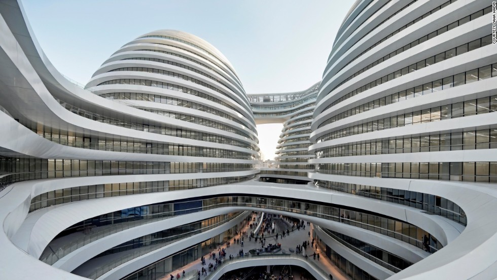 Hadid's biggest office outside of London is in China, so it's unsurprising that she has designed a number of buildings in the country, including the Galaxy Soho entertainment and office complex (pictured), the Guangzhou Opera House in 2010, and the Wangjing SOHO towers complex, set to be completed next year.