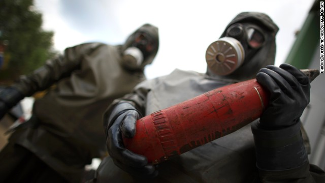 Workers in a chemical weapons disposal facility at GEKA in Germany.