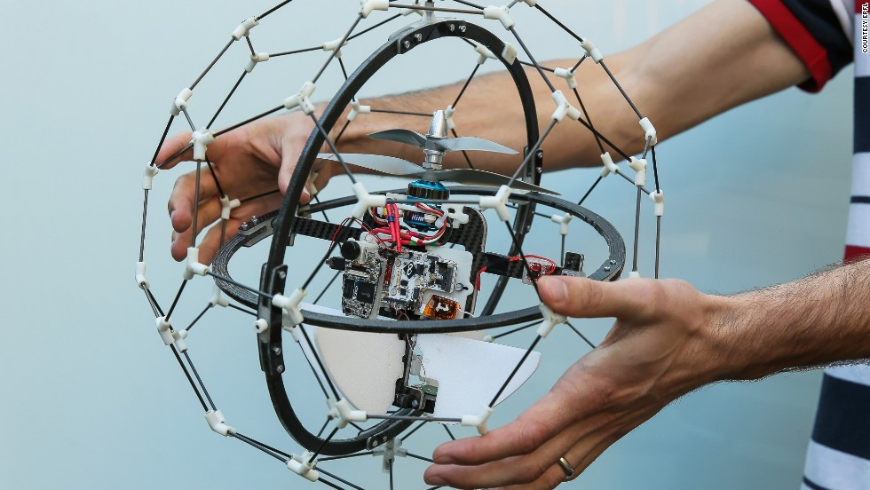 "The GimBall won the $1 million first prize in the 2015 ""<a href=""http://www.dronesforgood.ae/"" target=""_blank"">Drones for Good</a>"" competition. It is designed to access hard-to-reach areas such as burning buildings and nuclear disaster sites. Its robust outer structure means it is the first ""collision-tolerant"" drone in the world, according to is creators -- Swiss company Flyability. <a href=""/2015/02/09/tech/gimball-drones-for-good/index.html"" target=""_blank""><strong>Read more.</a></strong>"
