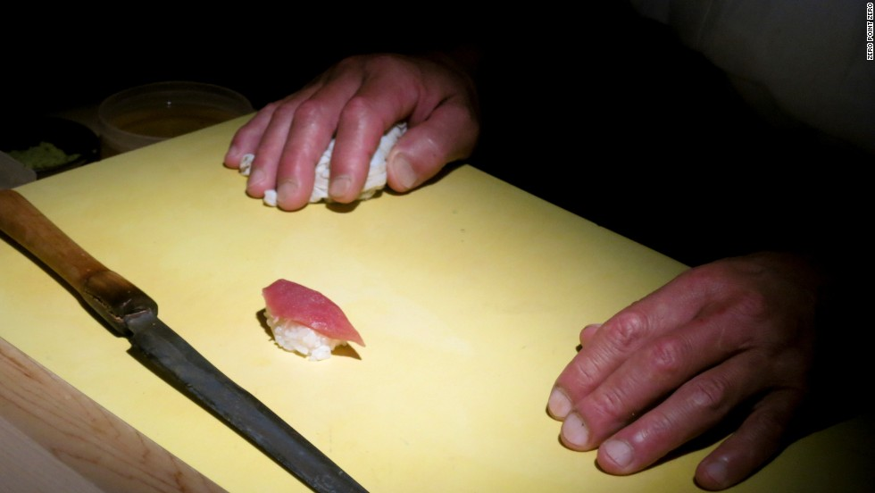 'So many things separate Yasuda-san from other Japanese sushi masters. The most noticeable is his hands. They're huge. Look at the knuckles, enormous from years of pounding cement walls during repeated daily practice in kyokushin karate,' says Bourdain. 'This style, Yasuda practiced, was about beating your opponent as quickly and as aggressively as possible. Speed. Every second is important.'<br />