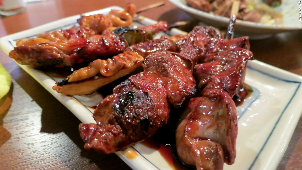 Skewers of beef intestine and chicken.