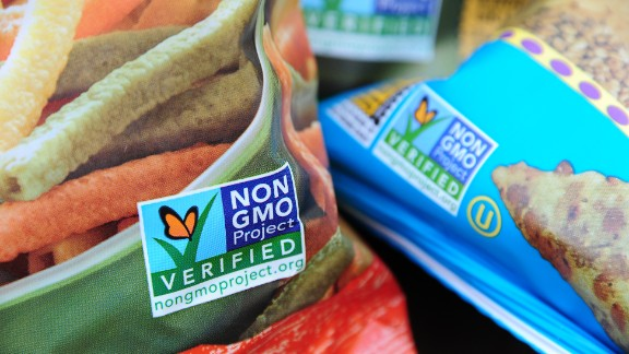 Labels say these snacks don't contain GMOs. A campaign is on in Washington state to require GMO foods to be labeled.