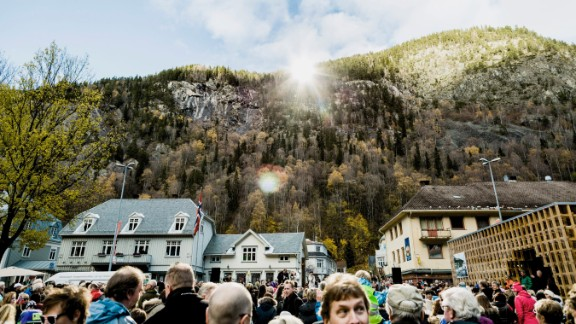 """The town's mayor hopes the sun mirror will draw more visitors to Rjukan. """"The sun mirror means a lot to Rjukan, both for tourism and for [winter sports] industry, which is our origin. It's a perfect combination of technology and art -- and of course it is a great welfare activity for the citizens of Rjukan,"""" Steinar Bergsland says."""