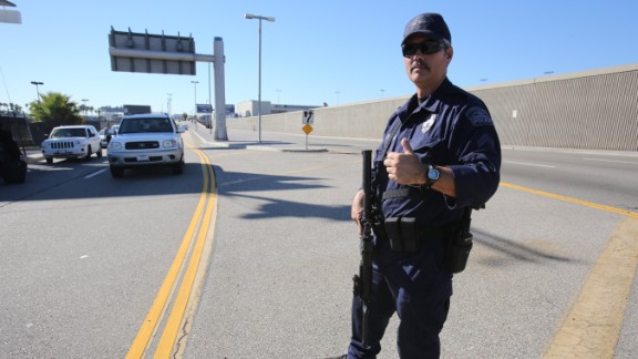 A police officer directs traffic.