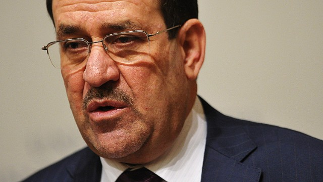 Iraqi Prime Minister Nuri al-Maliki speaks on US-Iraqi relations at the United States Institute of Peace on October 31, 2013 in Washington, DC. Maliki's visit to Washington comes as his country is wracked by the worst unrest since 2008, and just a few weeks before the two-year anniversary of the withdrawal of American troops from Iraq. AFP MANDEL NGANMANDEL NGAN/AFP/Getty Images
