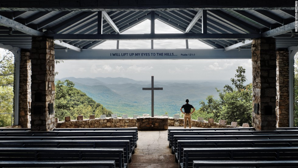 The Fred W. Symmes Chapel, part of a YMCA camp, sits at the edge of a cliff in the Blue Ridge Mountains near Cleveland, South Carolina.